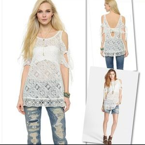 Free People Tops - FREE PEOPLE GEO SANDS WHITE LACE TOP BLOUSE SZ L